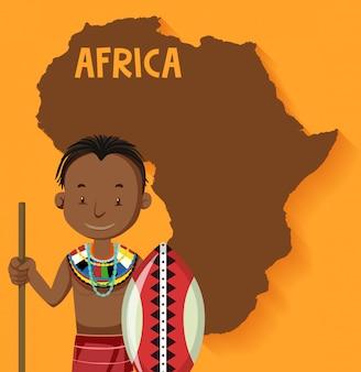 Tribus africanas nativas con mapa