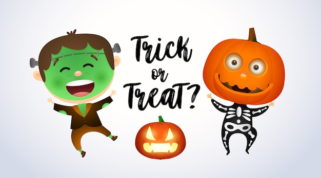 Trick or treat, niños con disfraces de zombies y calabazas