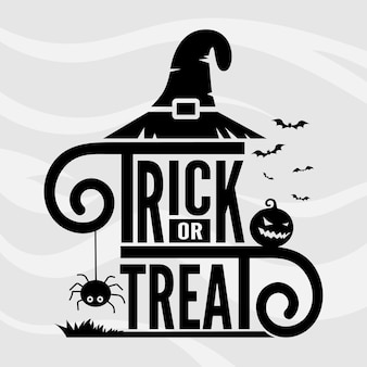 Trick or treat plantilla de vector de letras