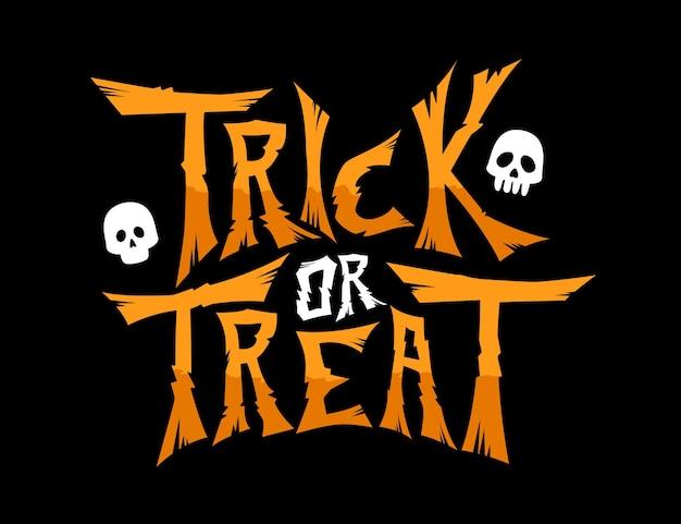 Trick or treat vector texto banner letras de caligrafía de miedo sobre fondo negro para el día de halloween