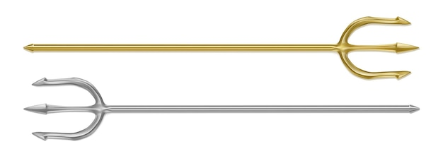 Tridente de plata dorado diablo tridente aislado conjunto realista de arma de mitología del dios griego poseidón
