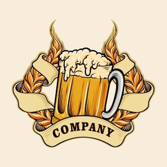 Trigos un logotipo de cerveza de vidrio