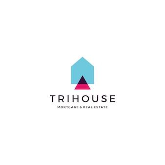 Trihouse triángulo casa casa hipoteca inmobiliaria logotipo