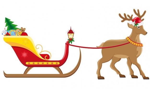 Trineo de christmassanta con reno.