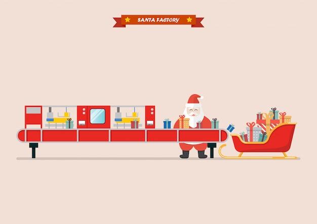 Trineo de santa esperando cajas de regalo de la máquina de correa de robot