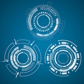Trío de colección de tecnología realista con circels, cuadrados y otras cosas en el centro del azul.