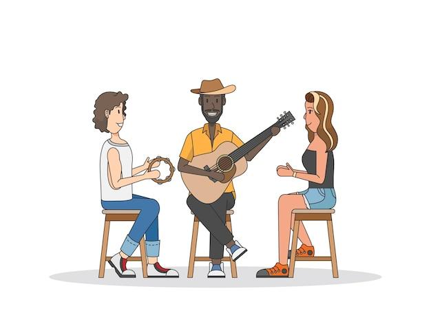 Trío de músicos actuando