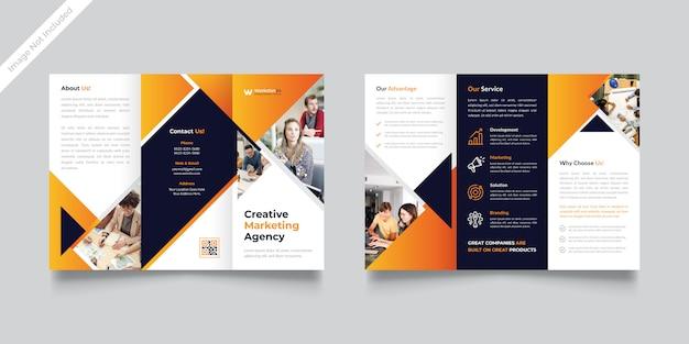 Tríptico folleto diseño 2020 plantilla vector premium