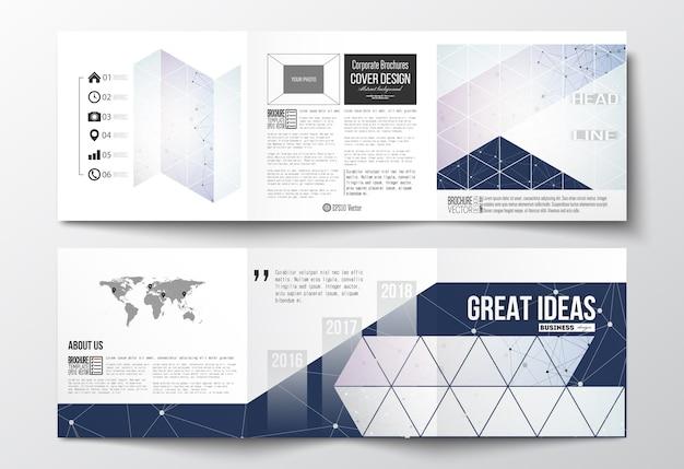 Tríptico folletos, plantillas de diseño cuadrado