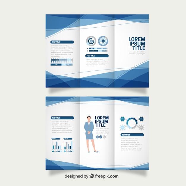Tríptico de negocios abstracto azul