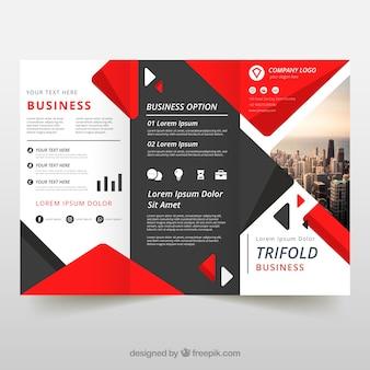 Tríptico de negocios en estilo plano