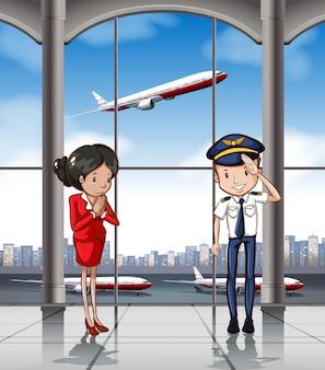 Tripulación de cabina en el aeropuerto