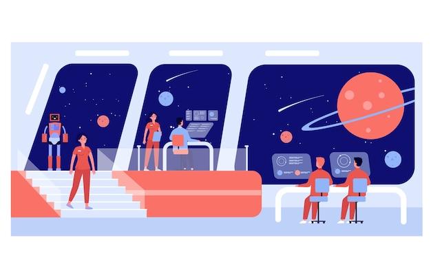 Tripulación de la estación espacial interestelar. capitán, oficiales y robots que monitorean planetas. ilustración de ciencia ficción, concepto de exploración espacial.
