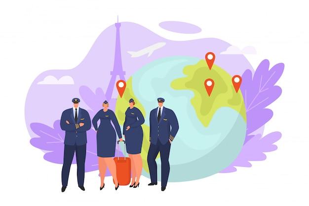 Tripulación de línea aérea de vuelo con piloto, ilustración de personaje de asistente de avión. persona de aviación de pie en el aeropuerto, capitán de hombre y equipo de azafata de mujer. personal profesional de aeronaves.