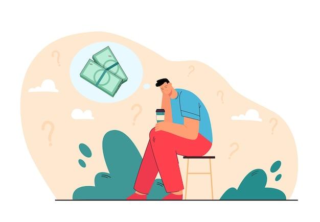 Triste arruinado pensando en problemas de dinero sobre una taza de café. ilustración de dibujos animados