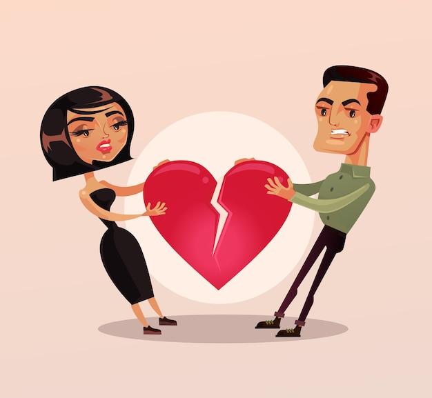 Triste infeliz pareja hombre y mujer, esposa y marido pelea de personajes y tirando del corazón y rompió la relación, caricatura plana
