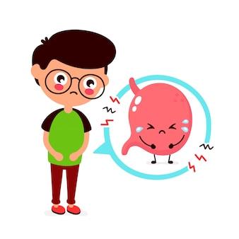 Triste joven enfermo con carácter de estómago de intoxicación alimentaria.