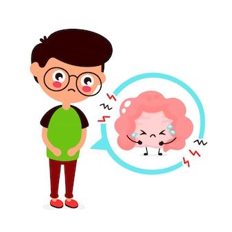 Triste joven enfermo con problemas intestinales.