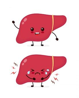 Triste llanto enfermo enfermo y saludable fuerte feliz sonriente lindo personaje de hígado. diseño de icono de ilustración de kawaii de dibujos animados plana. aislado en el fondo blanco. hígado enfermo, dolor, concepto de dolor