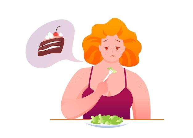 Triste mujer gorda come ensalada verde, soñando con un trozo de chocolate poco saludable