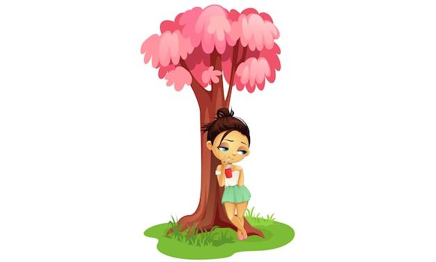 Triste niña de pie bajo el árbol de dibujos animados