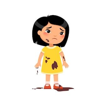 Triste niña sucia infeliz niño asiático