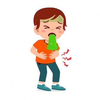 Triste niño lindo sentirse enfermo y vomitar