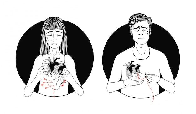 Triste y sufriente pérdida de amor de hombre y mujer. concepto de corazón roto ilustración dibujada a mano