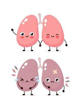 Triste sufrimiento enfermo lindo y saludable feliz sonriente pulmones carácter. diseño de icono de ilustración de dibujos animados plana. aislado en el fondo blanco. sufre un grito insalubre y un concepto de personaje de pulmones felices