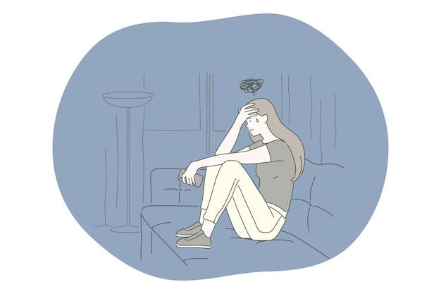 Tristeza, depresión mental, concepto de malas noticias.