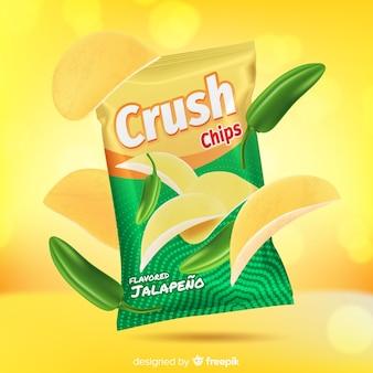 Triturar chips sobre fondo abstracto