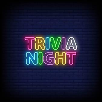 Trivia night letreros de neón estilo texto