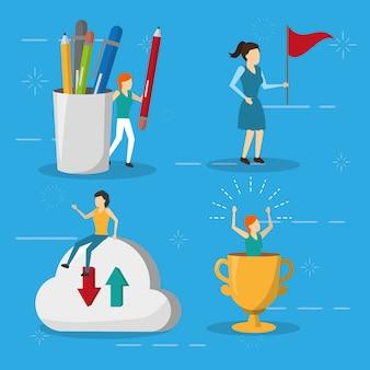 Trofeo de bandera de mujeres de negocios de almacenamiento en la nube, estilo plano