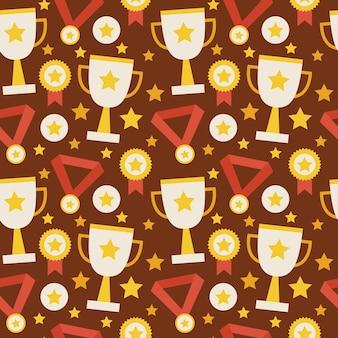 Trofeo de la competencia deportiva de patrones sin fisuras de vector plano ganando con medalla. fondo de textura de estilo plano. deportes y recreación. primer lugar. premio con estrella. taza con estrella dorada