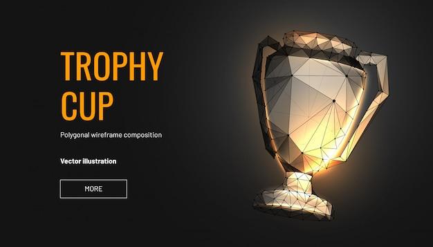 Trofeo de la copa. estilo de estructura metálica de baja poli