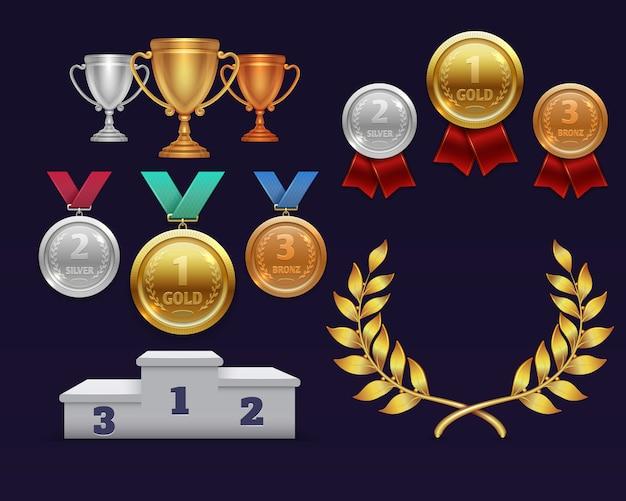 Trofeo de la copa de oro y corona de laurel dorado, medallas y podio deportivo.