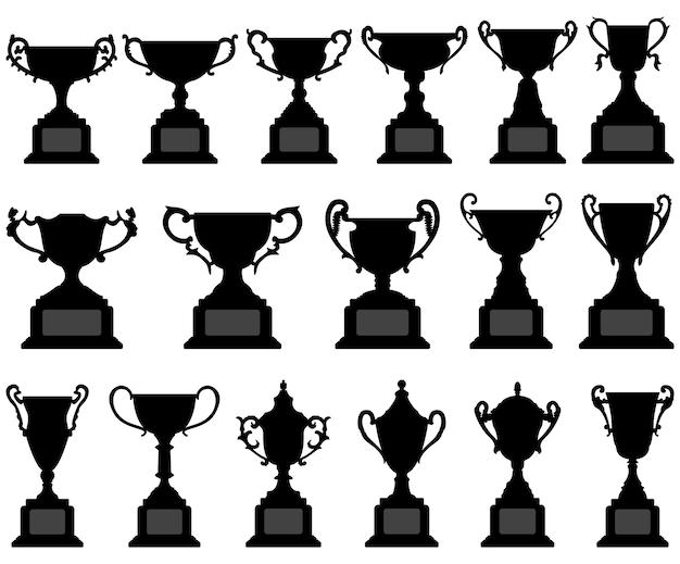 Trofeo copa silueta conjunto negro.