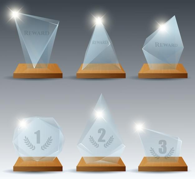 Trofeo de cristal transparente ganador realista recompensa