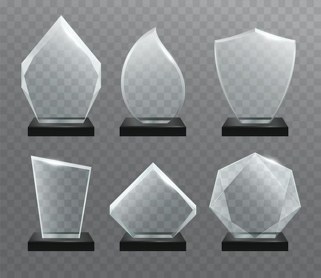 Trofeo de cristal transparente a los premios.