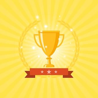 Trofeo dorado con cinta roja y corona en amarillo
