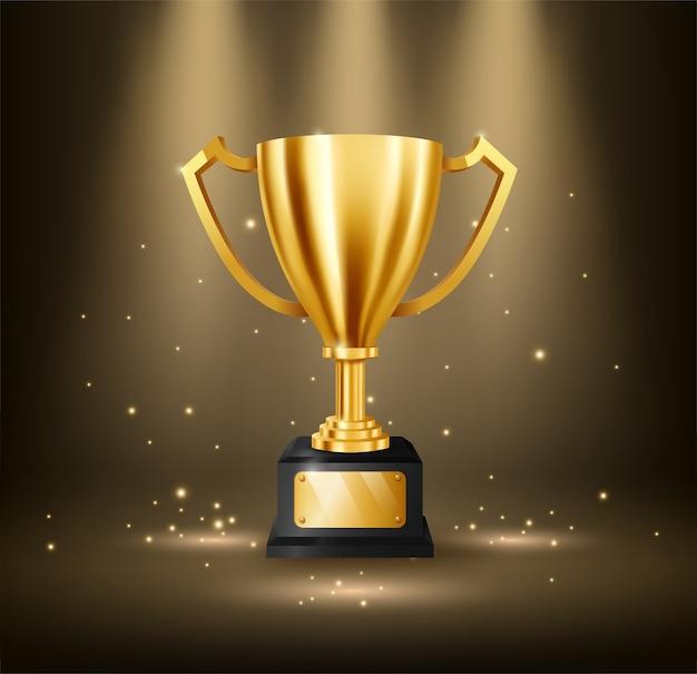 Trofeo dorado realista con espacio de texto