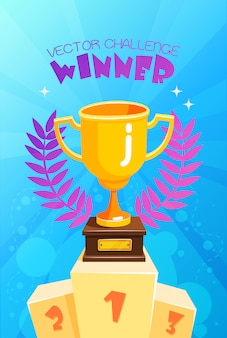 Trofeo ganador en cartel colorido del podio