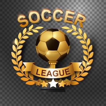 Trofeo de la liga de fútbol con corona de laurel de oro