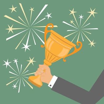 Trofeo de mano, símbolo de negocios