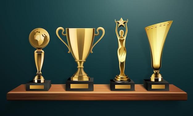 Trofeo y marco conjunto realista de cuatro tazas de arte y deporte diferentes de pie en un estante de madera