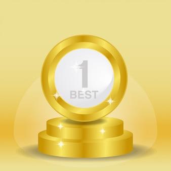 Trofeo y medalla realista del vector para el mejor fondo
