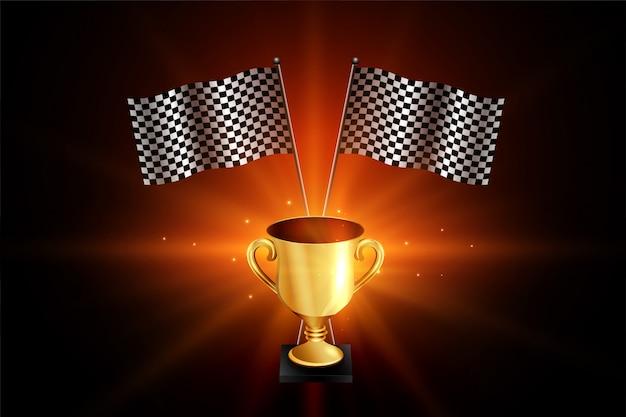 Trofeo de oro ganador con banderas de carreras.
