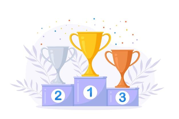 Trofeo de oro, plata y bronce, copa en el podio. premio al ganador por 1er, 2do, 3er lugar. premios para campeones