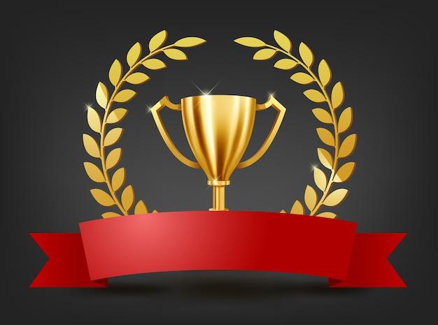 Trofeo de oro realista con espacio de texto en cinta roja