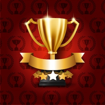 Trofeo de oro realista con lugar para texto en cinta dorada